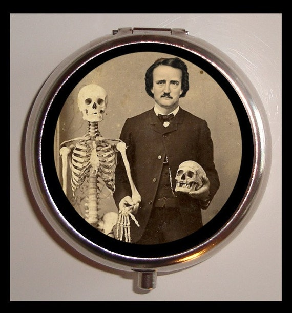 Edgar Allan Poe Pillbox Pill Box Case Holder for Vitamins Pills With Skeleton Goth Author Victorian Pose with Skull Medical Oddity Alt Art