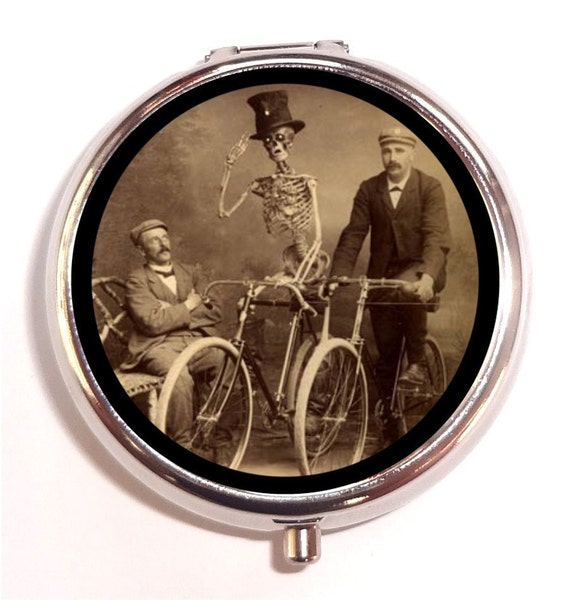Men and Skeleton Bike Riding Pill Box Pillbox Case Trinket Box Vitamin Holder