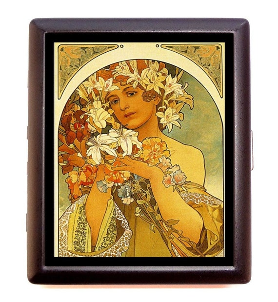 Mucha Cigarette Case Art Nouveau Flower Woman Poster Art Edwardian Whimsical Fantasy Artwork ID Business Card Credit Card Holder Wallet