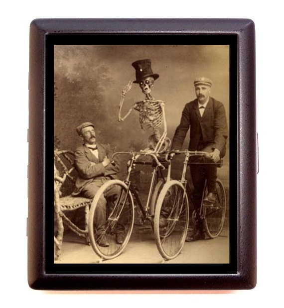 Skeleton on Bicycle Cigarette Case Business Card Case wallet Victorian Edwardian Bike Riders Whimsical Humor Cyclist gift