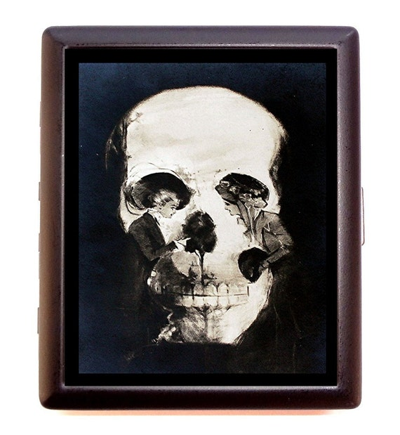 Victorian Skull Illusion Metamorphic Two Women Cigarette or Business Card Case or Metal ID wallet