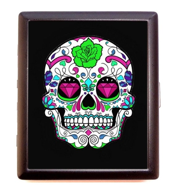 Sugar Skull Cigarette Case Mexican Day of the Dead Goth Tattoo Business Card Case or wallet
