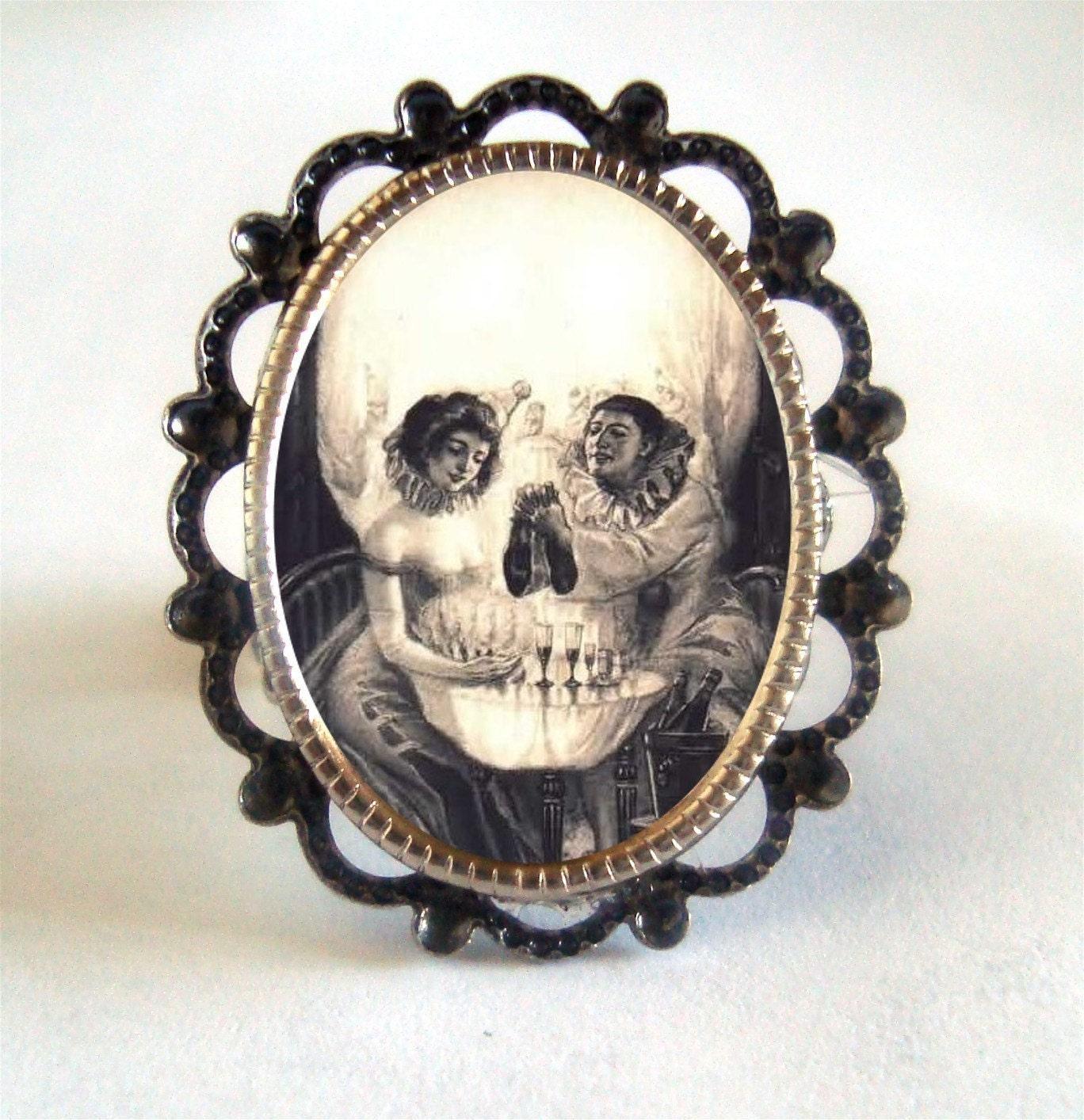 Victorian Elaborate Skull Illusion Momento Mori Imagery Silver