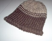 Oatmeal and brown warm knit hat