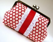Medium frame pouch - lace and ribbon on polka dots on red