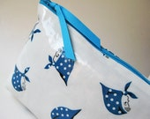 Laminated zipper pouch - girl with blue scarf