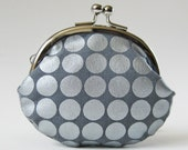 Coin purse silver dots on gray change purse kiss lock purse metallic glitter mirror ball silver purse pewter steel gray grey