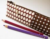 Pencil case - brown dots