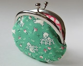 coin purse-  puppies on mint green