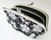 Coin purse / wallet - white flowers on black