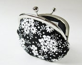 coin purse - white flowers on black
