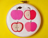 Wall hanging - pink apples felt applique