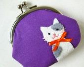 Cat on purple coin purse