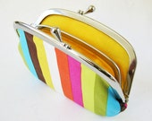 RESERVED for hhauch35 - Rainbow stripes coin purse with divider