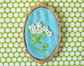 Queen Anne's Lace Brooch on Aqua Blue
