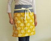 Reversible half apron - mustard flowers