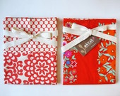 Reversible half apron - red white floral