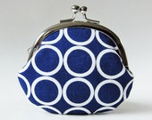 coin purse - white rings on navy blue
