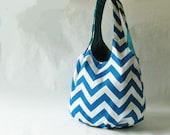 Tote bag - turquoise blue chevron stripes