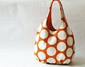 Big dots on orange tote bag