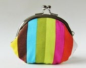 Rainbow stripes coin purse