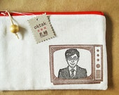 Retro Japanese TV zipper pouch - collaboration with Fumiwo
