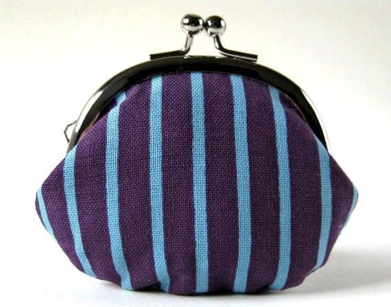 Handmade change purse - blue stripes on eggplant