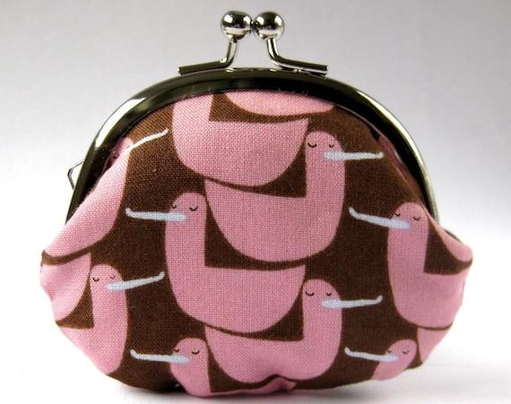 Coin purse pink ducks on brown cute bird change purse kiss lock purse clasp purse frame purse pouch chocolate brown pink bird