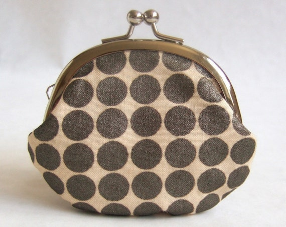 Handmade coin purse - bronze dots on cream LAST ONE