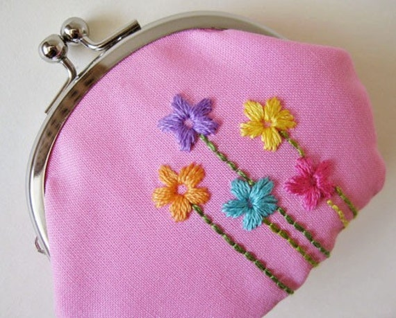 Handmade change purse - embroidered flowers on pink