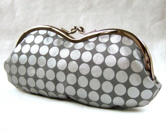 eyeglass case/frame purse - silver dots on gray