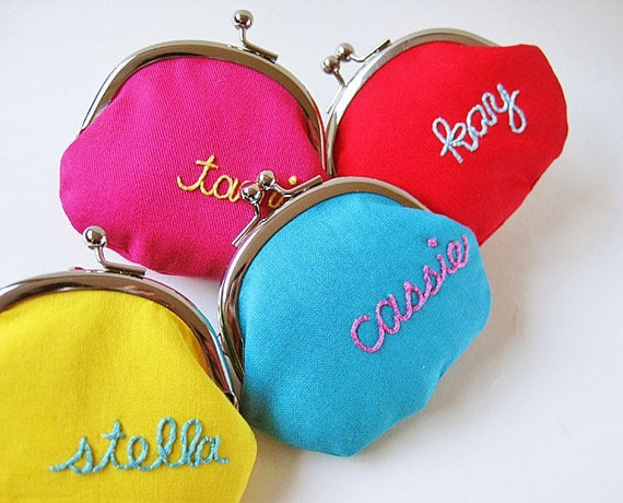 RESERVED for Kim (Personalized coin purse - custom embroidery pick your color)