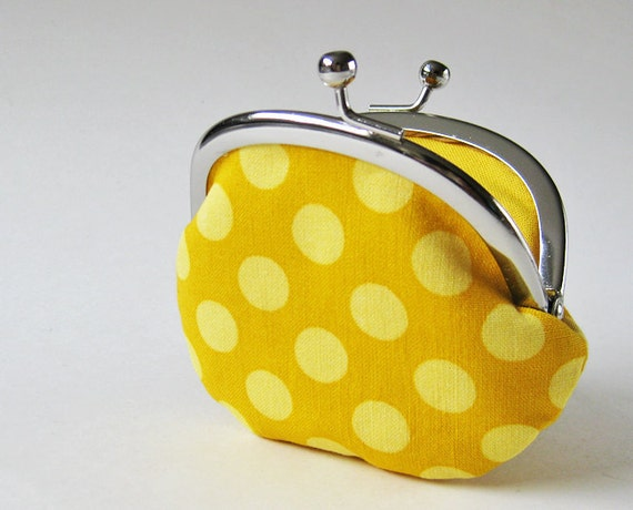 coin purse - yellow dots