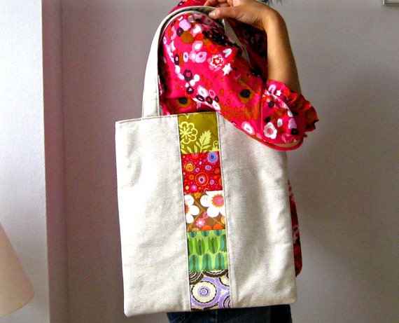 Tote bag - patchwork linen