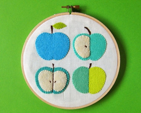 RESERVED for Jennie - Blue green apples wall hanging
