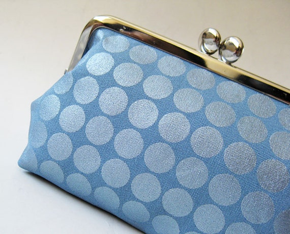 RESERVED for warmleatherette - Metallic blue dots kiss lock purse