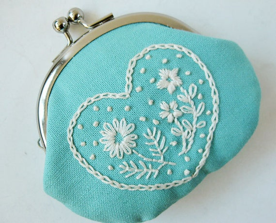 Handmade Coin Purse Embroidered Heart Flowers On Aqua By Oktak