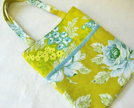 Flowers on chartreuse tote bag