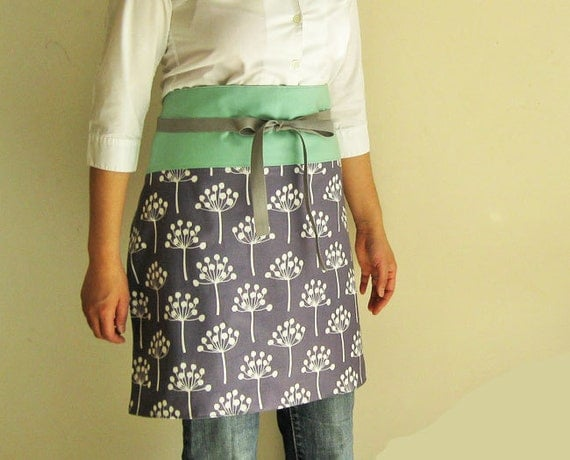 Reversible half apron - flowers on gray mint band