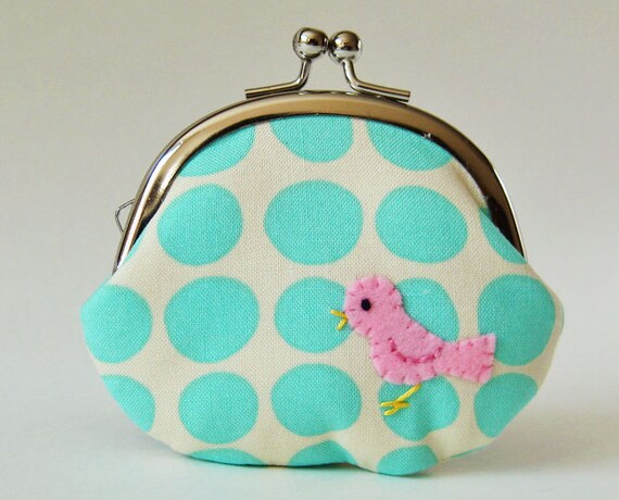 Pink bird on aqua dots coin purse