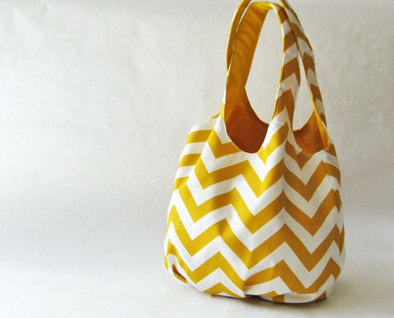 Tote bag - yellow chevron stripes
