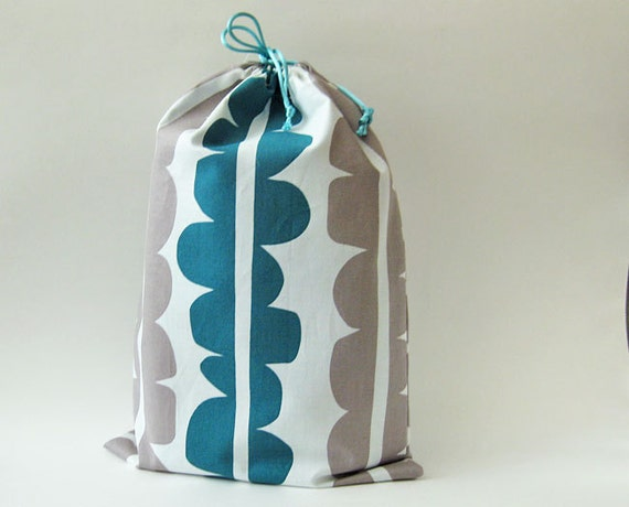 Drawstring bag - teal and gray modern scalloped pattern