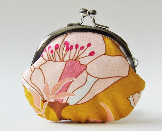 coin purse - pink flowers on gold