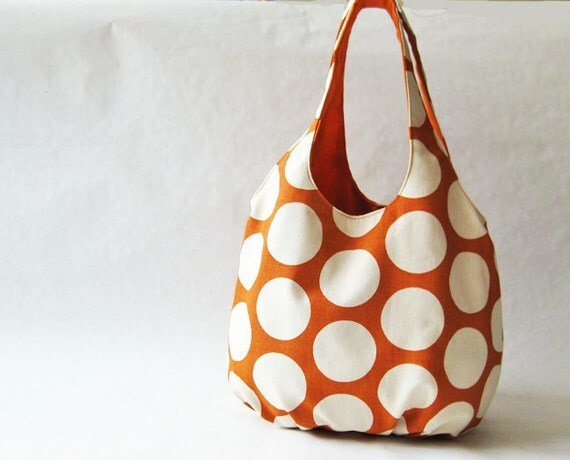 Big dots on orange tote bag