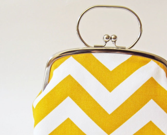 RESERVED for pseudopix - purse with handle yellow chevron stripes
