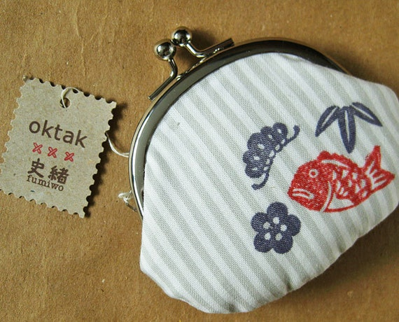 Coin purse Japanese symbols of happiness collaboration with Fumiwo gray stripes