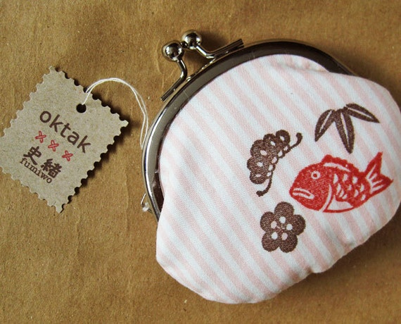 Coin purse Japanese symbols of happiness collaboration with Fumiwo pink stripes