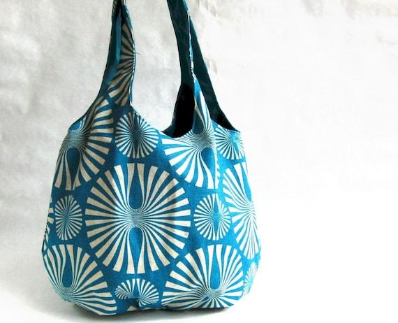 gathered shoulder bag - pinwheels on turquoise