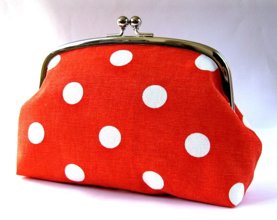XL frame pouch - polka dots on orange red