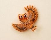 The Illustrated Owl  Brooch ----- 'Orange'